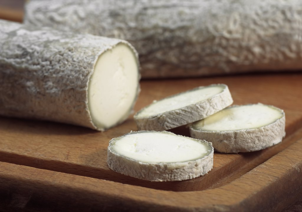 Stock Photo: 4273-17908 French Cheese called Sainte Maure de Touraine, Cheese made with Goat Milk
