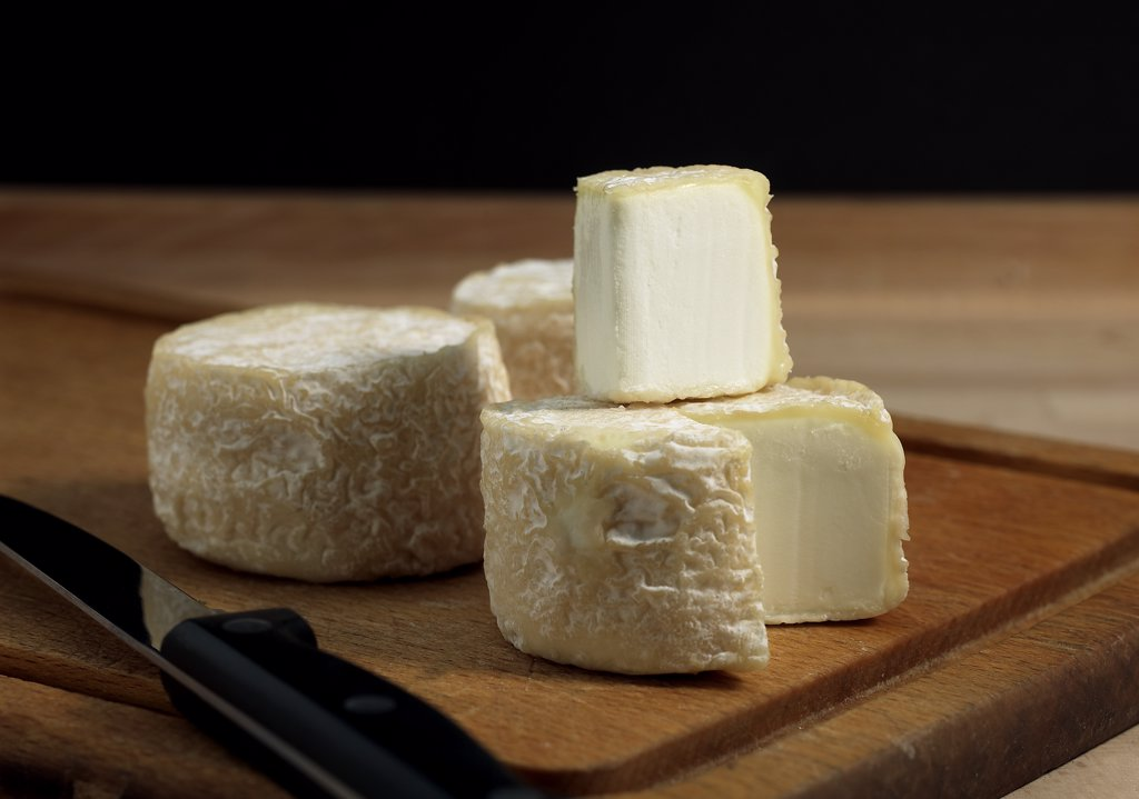 French Cheese Called Crottin, Cheese made with Goat Milk : Stock Photo