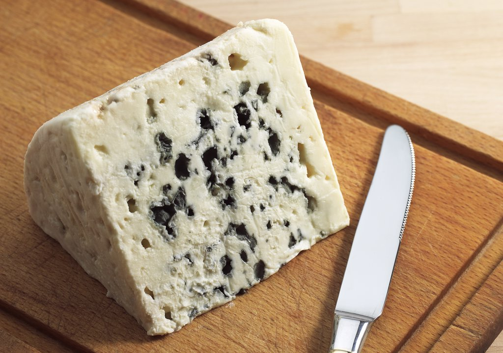 Stock Photo: 4273-17923 French Cheese called Roquefort, Cheese made from Ewe's Milk