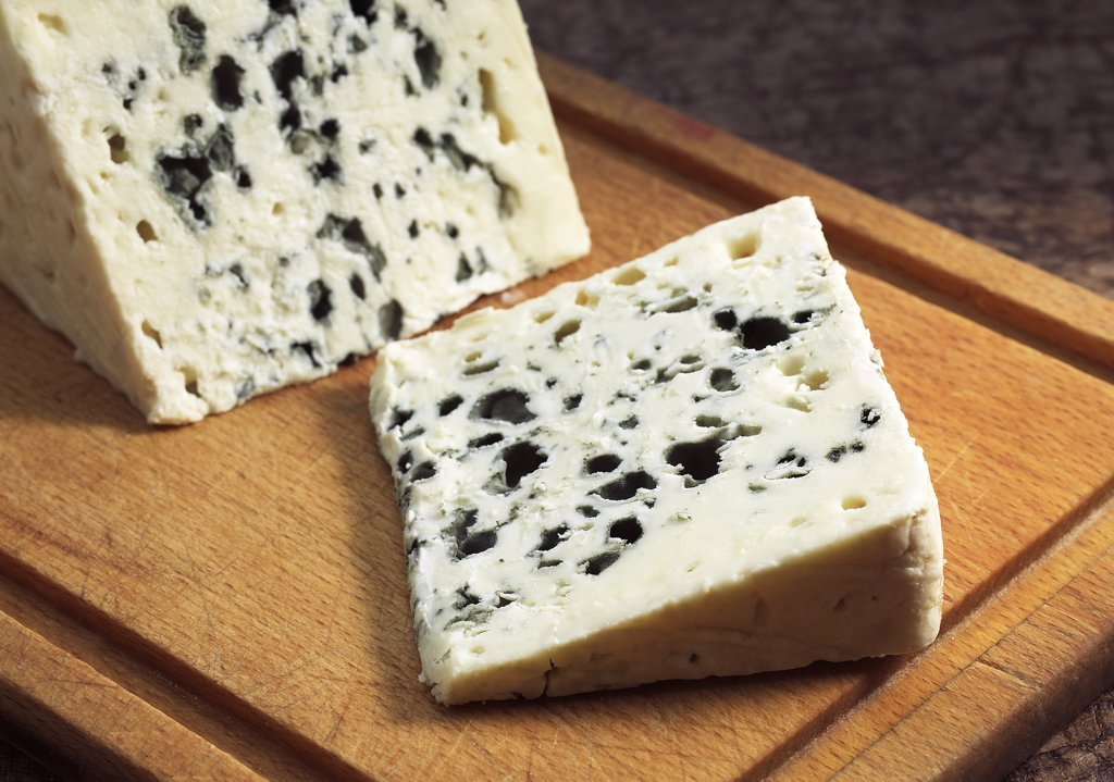 French Cheese called Roquefort, Cheese made from Ewe's Milk : Stock Photo