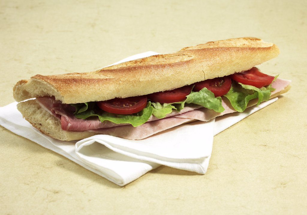 Ham Sandwich with Tomato and Salad : Stock Photo