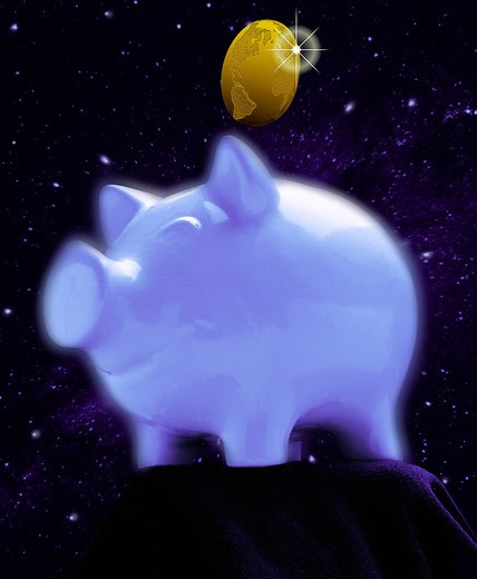 Stock Photo: 4273-2849 Pig Money Box With The Earth