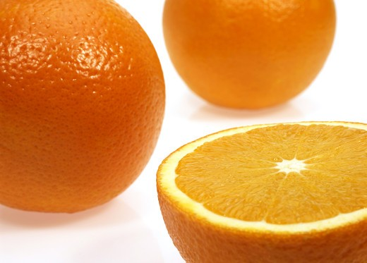 Stock Photo: 4273-4715 Orange, Citrus Sinensis, Fruits Against White Background