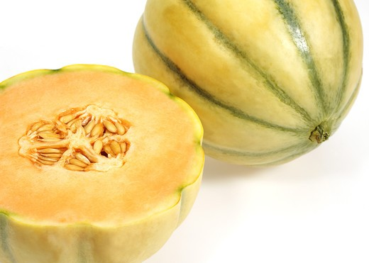 Stock Photo: 4273-5084 Cavaillon Melon, Cucumis Melo, Fruits Against White Background