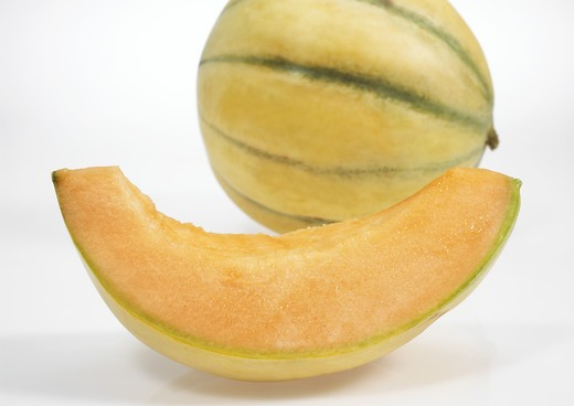 Stock Photo: 4273-5166 Cavaillon Melon, Cucumis Melo, Fruit Against White Background