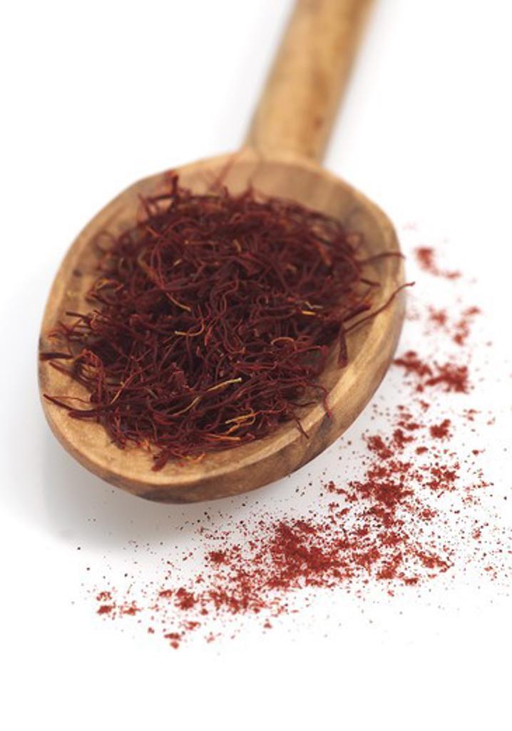 Stock Photo: 4273-5715 Wooden Spoon With Saffron Extracted From Saffron Crocus Flower Stigmas, Crocus Sativus