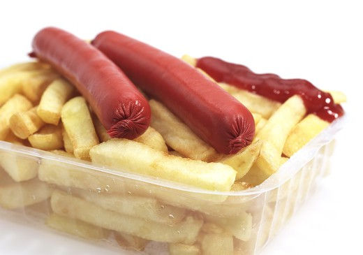 Stock Photo: 4273-5731 Sausage And French Fries Against White Background