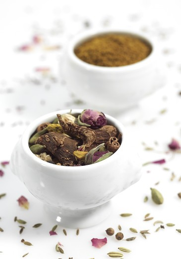 Stock Photo: 4273-5829 Ras El Hanout, Spice From Marocco Against White Background