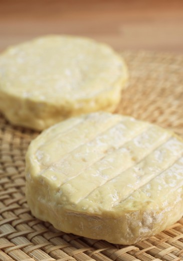 Stock Photo: 4273-6034 French Cheese Called Saint Marcellin Produced From Cow'S Milk