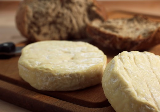 French Cheese Called Saint Marcelin With Bred, Cheese Made With Cow'S Milk : Stock Photo
