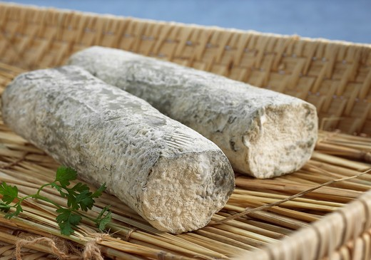 Stock Photo: 4273-6147 French Cheese Called Sainte Maure De Touraine, Cheese Made With Goat'S Milk