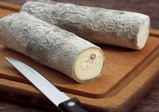 Stock Photo: 4273-6149 French Cheese Called Sainte Maure De Touraine, Cheese Made With Goat'S Milk