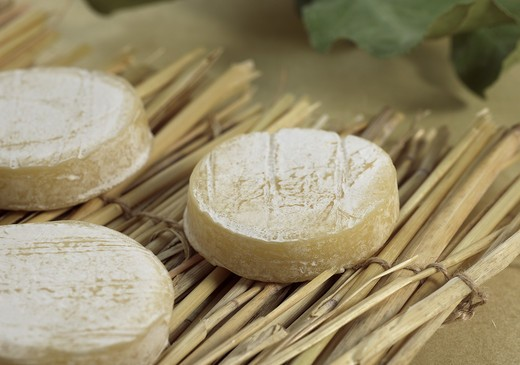 Stock Photo: 4273-6170 French Cheese Called Rocamadour, Cheese Made With Goat Milk