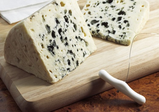 Stock Photo: 4273-6261 French Cheese Called Roquefort, Cheese Made With Ewe'S Milk