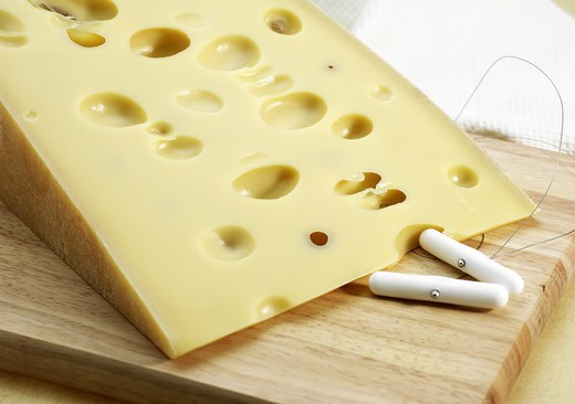 Stock Photo: 4273-6267 Emmental, Swiss Cheese Made From Cow'S Milk