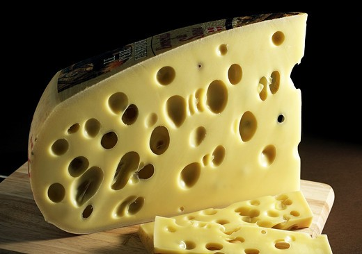 Stock Photo: 4273-6269 Emmental, Swiss Cheese Made From Cow'S Milk