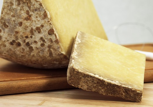 French Cheese Called Cantal, Cheese Made From Cow'S Milk : Stock Photo