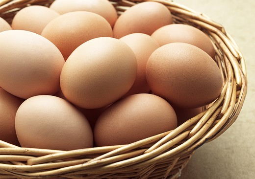 Chicken Eggs In Basket : Stock Photo