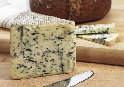 Stock Photo: 4273-6692 Bleu Des Causses, French Cheese In Aveyron, Made With Cow'S Milk