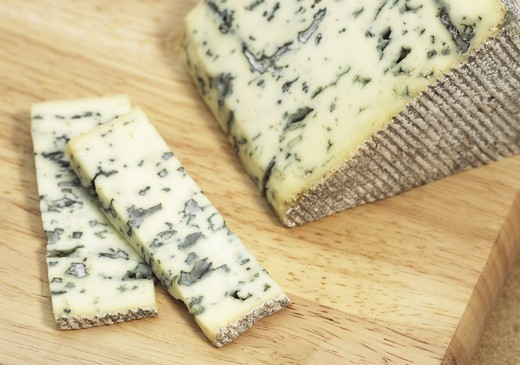 Stock Photo: 4273-6697 Bleu Des Causses, French Cheese In Aveyron, Made With Cow'S Milk