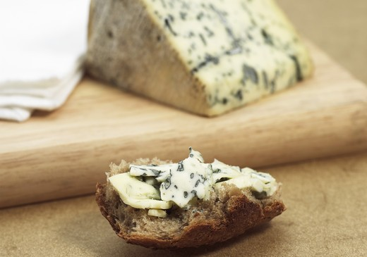 Stock Photo: 4273-6698 Bleu Des Causses, French Cheese In Aveyron, Made With Cow'S Milk