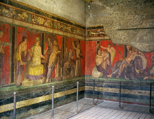 Stock Photo: 4273-6970 Mural Paint Of Pompeii In Italy, City Destroyed And Completely Buried During An Eruption Of The Volcano Mount Vesuvius In August 79, A Unesco World Heritage Site Since 1997