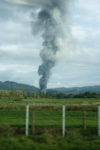 Stock Photo: 4276-1105 Smoke in countryside