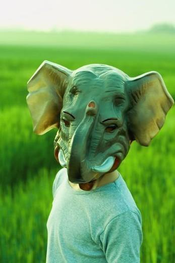 Stock Photo: 4276-2555 Person wearing elephant mask, portrait