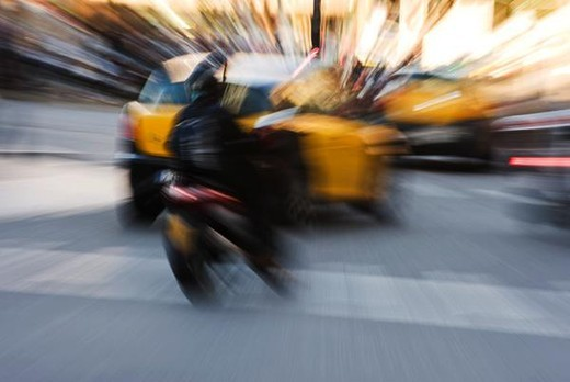 Blurred traffic on city street : Stock Photo