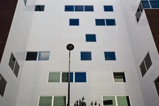 Office building exterior, low angle view : Stock Photo