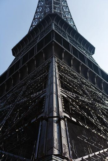 Stock Photo: 4276-4166 Eiffel Tower, Paris, France, cropped low angle view
