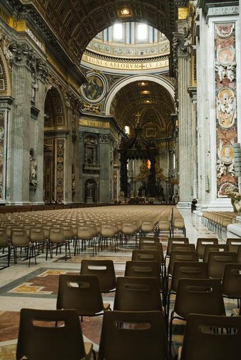 The Nave, The Papal Altar and Baldacchino in the background, St. Peter's Basilica, Rome, Italy : Stock Photo