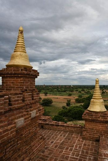 Bagan, Myanmar, view from top of an ancient temple : Stock Photo