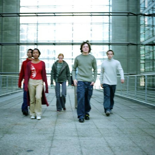 Stock Photo: 4276-6988 Urban scene, young people walking