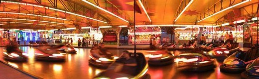 Stock Photo: 4276-8691 Bumper cars, panoramic view