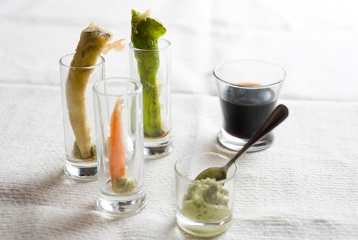 Stock Photo: 4277-1023 Vegetable tempura served in glasses with wasabi and soy sauce