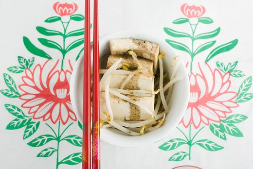 Stock Photo: 4277-1145 Tofu with bean sprouts