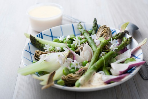 Stock Photo: 4277-1166 Spring vegetables with aioli