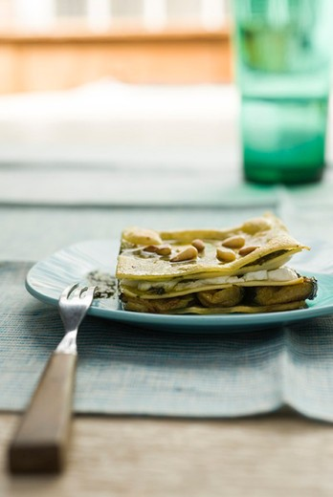 Lasagna with zucchini and pesto : Stock Photo
