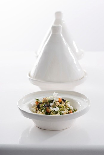 Green tabbouleh with feta : Stock Photo
