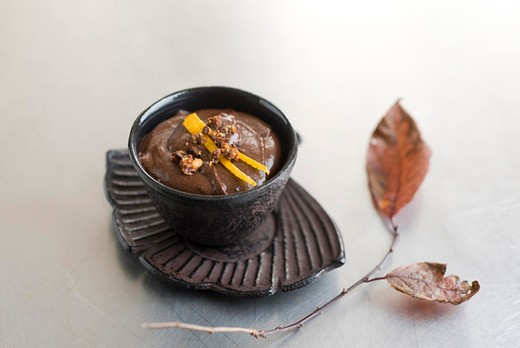 Stock Photo: 4277-1446 Chocolate mousse topped with caramelized hazelnuts and orange zest
