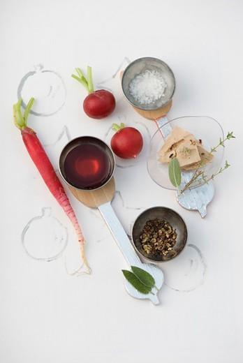 Stock Photo: 4277-1658 Foie gras with radishes, ingredients