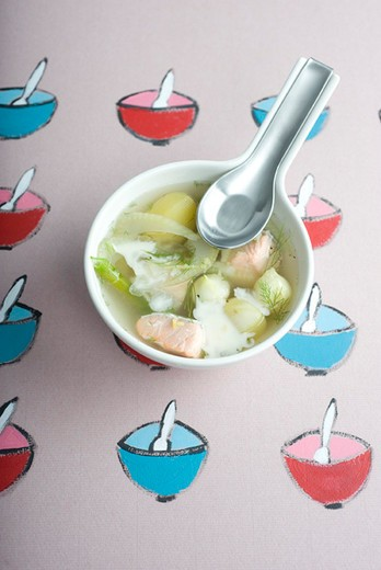 Salmon chowder with fennel : Stock Photo