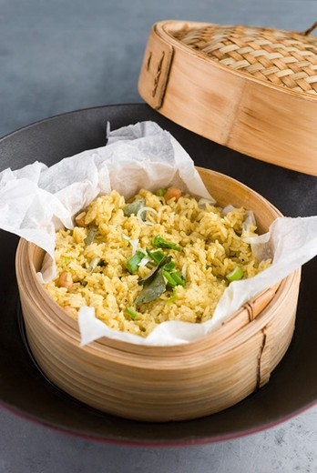 Sticky rice with turmeric : Stock Photo