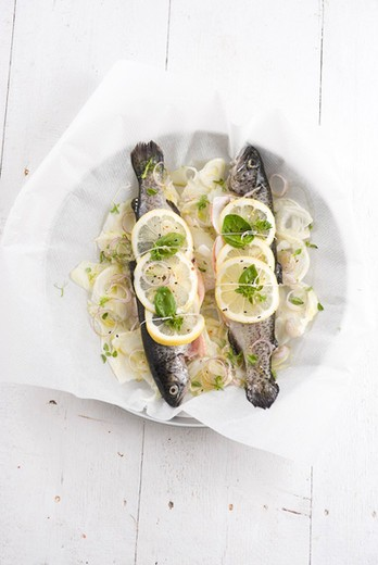 Stock Photo: 4277-1849 Baked trout with lemon, fennel and basil