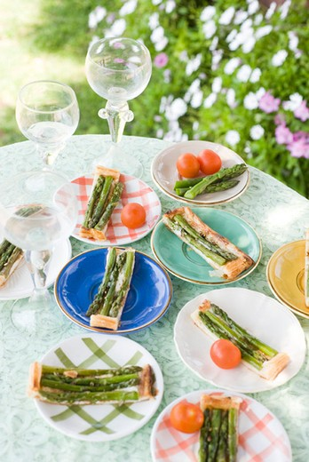 Stock Photo: 4277-1919 Asparagus and goat cheese tart