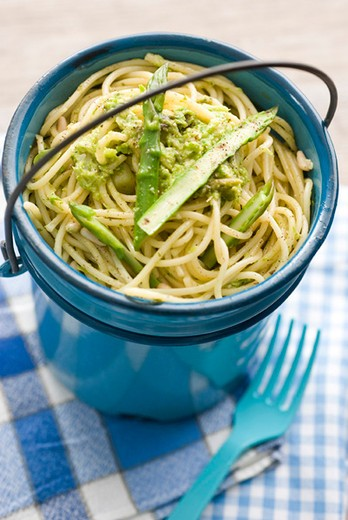 Stock Photo: 4277-1970 Spaghetti with asparagus pesto