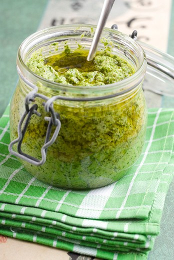 Stock Photo: 4277-2009 Arugula and new garlic pesto