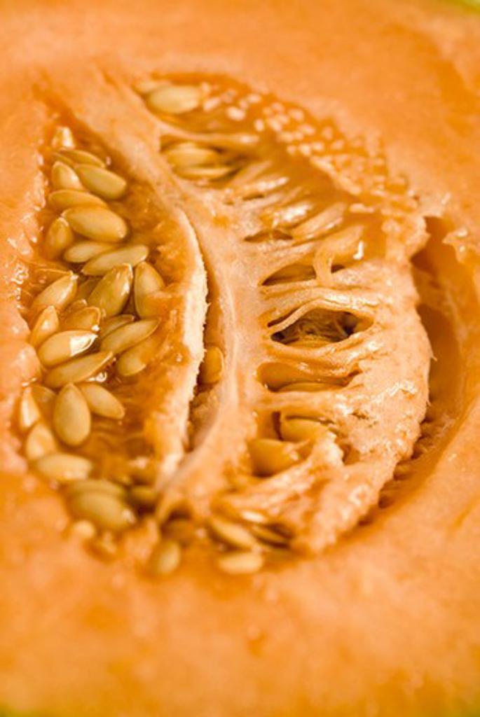Stock Photo: 4277-2088 Cantaloupe seeds, close-up