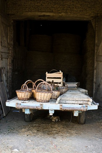Baskets and ladders on trailer parked outside barn : Stock Photo